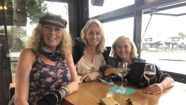 Jeanette Lamb and friends at the Byron Bay Hotel. They flew home early following the Bluesfest cancellation.