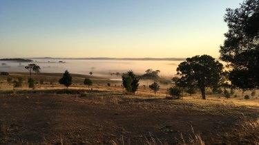 Fog hovering over a pastural valley at Sutton, near Canberra, where a large solar farm is proposed to be built.