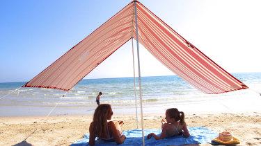 A Beachkit beach shade in action.