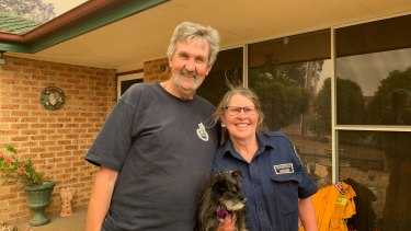 Orangeville residents and RFS volunteers Kim and Pete Teale have been worried about their own home while fighting fires.