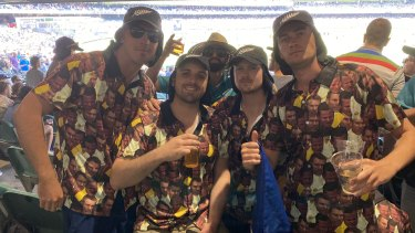 A group of friends from Hamilton, New Zealand, in their specially designed ball tampering shirts.