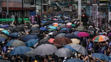 Pro-democracy supporters take part in an anti-government rally in Hong Kong, China.