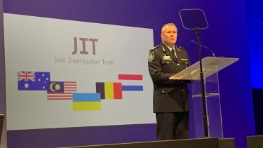 AFP assistant commissioner Peter Crozier at the press conference.