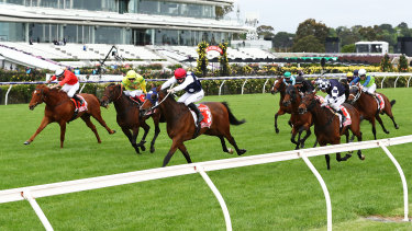 Johnny Get Angry wins the Victoria Derby in front of empty Flemington grandstands.