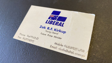 The business cardWA Liberal leadership contender Zak Kirkup mailed to political reporter Gary Adshead as a teenager after handing one just like it to then Prime Minister John Howard in the early 2000s.