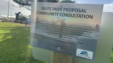 A sign calling for community consultation on a planned skate park for Cottesloe.