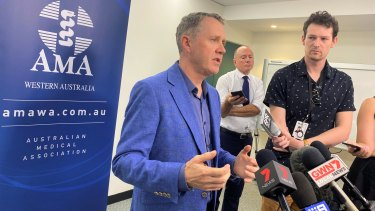 AMA(WA) president Andrew Miller speaks to reporters on Friday about coronavirus.