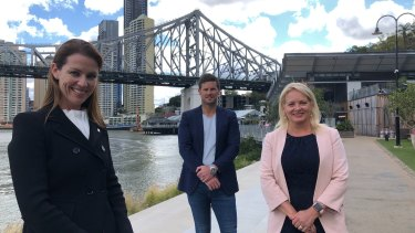 (From left) Planning Institute's Wendy Evans, Howard Smith Wharves chief executive Luke Evans and Brisbane deputy mayor Krista Adams.