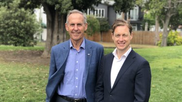 Former Greens leader Bob Brown with Prahran MP Sam Hibbins ahead of the upcoming state election.