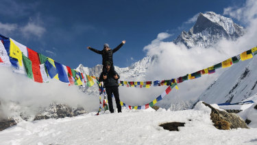 A couple enjoy travel in Nepal organised through Clean Travel.
