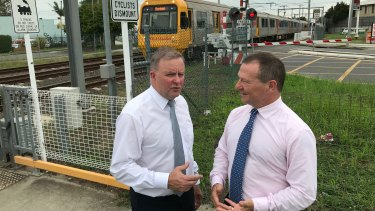 Opposition Leader Anthony Albanese and federal MP for Moreton Graham Perrett in 2019, announcing $73 million as a share of the $210 million to replace the Coopers Plains rail crossing with an overpass.