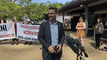 Greens MP Michael Berkman outside court with the Galilee Blockade supporters.