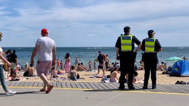 St Kilda beach this afternoon.