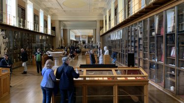 "The Enlightenment Gallery at the British Museum, displays items obtained by explorers, including the ""Gweagal Shield"" ."