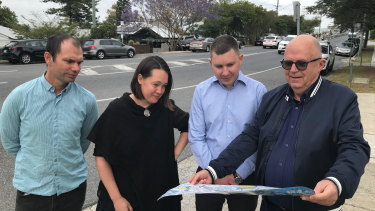 Brisbane's Dornoch Terrace residents Shem Guthrie, Sarah Foley, Andrew Millard and Rob Freeman question plans to remove 115 car spaces.