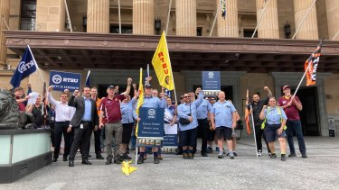 RTBU members and supporters rallying in King George Square with Brisbane City Council Labor Leader Jared Cassidy on Tuesday.
