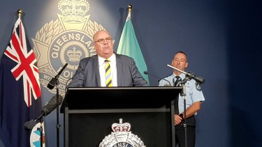 Assistant Commissioner Brian Codd and Superintendent Rhys Wildman (behind) speaking at a press conference on the killing of Kelly Wilkinson.