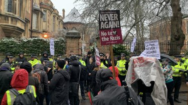 Protesters rally at Oxford Union ahead of Marechal's talk.