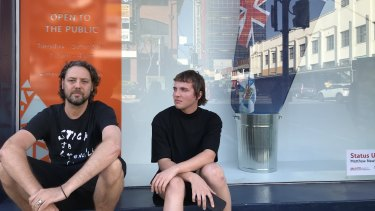 Griffith University artists Matthew Newkirk  (left) and Aden Sargeant say the Premier's office tried to close down their exhibition in Fortitude Valley.