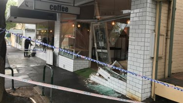 Damage outside the Montmorency cafe on Friday.