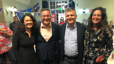 Federal Labor candidate Libby Coker (left), Lara MP John Eren, new Labor MP for South Barwon Darren Cheeseman, and Geelong Labor MP Christine Couzens.