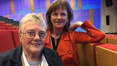 Malloy Rolfe (left) and Dr Catherine Barrett at the 2019 National Elder Abuse Conference.