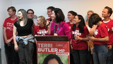 Terri Butler celebrates a rare win for Labor in Queensland in the Brisbane electorate of Griffith.