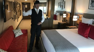 Zacharia Powers, Bell Captain at the Watergate Hotel, takes celebrities and everyday guests on tours of the 'Scandal Room'.