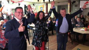 Three labor candidates celebrating the win. New South Barwon MP Darren Cheeseman (right) with Geelong MP Christine Couzens and Lara MP John Eren.