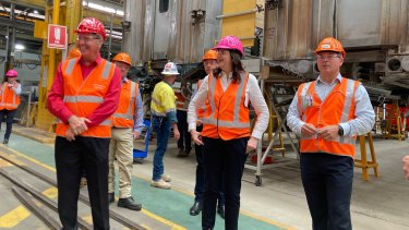 Queensland Premier Annastacia Palaszczuk at the Downer rail facility in Maryborough during the election campaign.