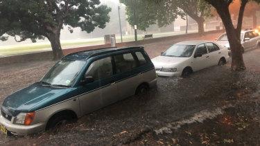 Heavy rain caused flash flooding in Glebe.