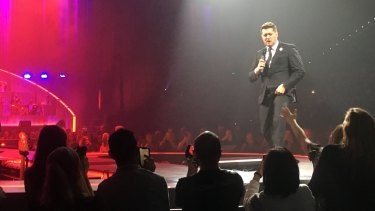 Buble's almost-two-hour set struck the right balance between quiet intimate love songs and punchy jazz numbers.