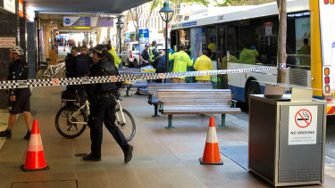 A pedestrian was struck by a bus on Adelaide Street in Brisbane in June.