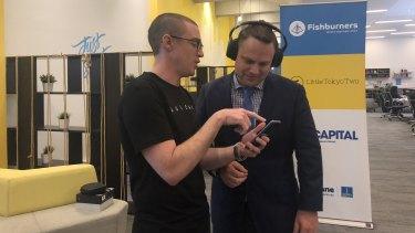 Audeara co-founder James Fielding and Brisbane deputy mayor Adrian Schrinner.