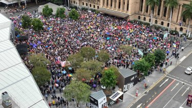 Thousands of protesters in in Brisbane's King George Square for the Women's March 4 Justice.