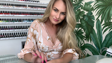 Skye McIntyre in her salon in Penrith, Sydney.