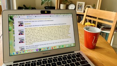 Mary Ward's work-from-home blogging station.