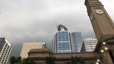 Storm clouds gather above Brisbane on Saturday afternoon.