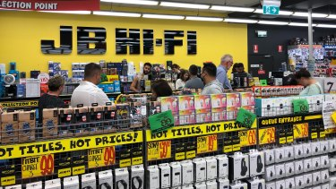 JB Hi-Fi has seen a huge jump in third-quarter sales as shoppers rush to kit out their home offices.