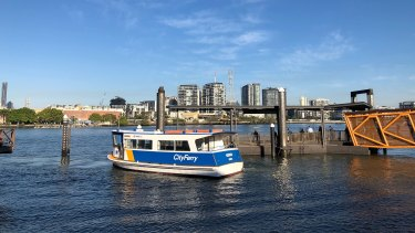 The remaining cross-river ferry operating the Bulimba to Teneriffe route has a steel hull rather than a wooden one.
