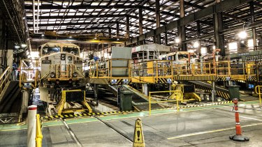 Autohaul trains at Rio Tinto's 7 Mile rail operations in Karratha.