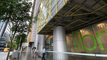 Fire-risk wall cladding is starting to be removed from George Street's Brisbane Square building.