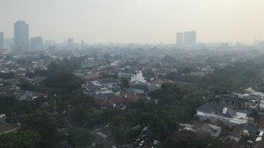 Pollution hangs over the Indonesian capital Jakarta.
