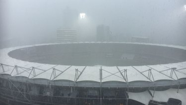 Heavy rainfall at the Gabba in Brisbane on Saturday.