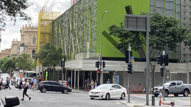 The 38-storey Brisbane Square building on George Street, where millions of dollars will be spent removing external wall panels over the next 14 months.