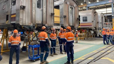 Queensland Rail carriages under construction at the Downer rail plant in Maryborough.