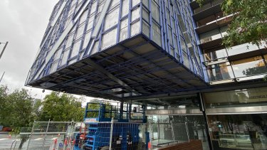 One section of the Brisbane Square building which has been stripped of external wall cladding.