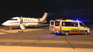 The men are transported by RACQ Lifeflight Rescue Air Ambulance jets from Moranbah airport after the mine explosion on Wednesday.