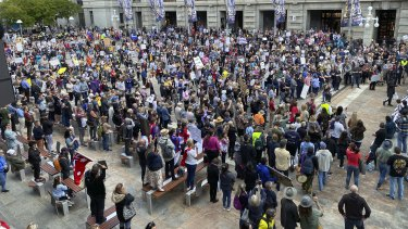 Protesters gathering at Perth's Forrest Place on Saturday.