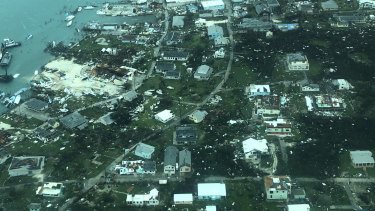 Destruction brought on by Hurricane Dorian on Man-o-War cay, Bahamas.